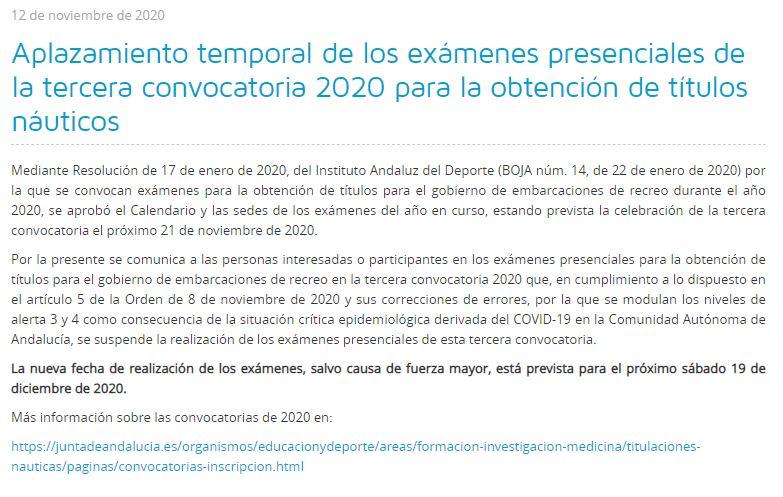 Aplazada la tercera convocatoria de exámenes náuticos en Andalucía al 19 de diciembre de 2020.