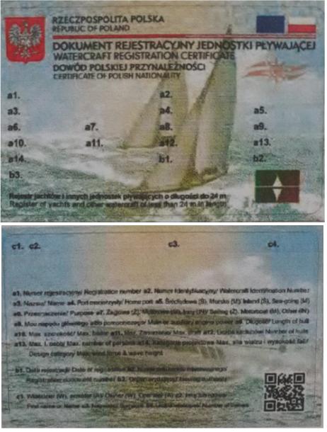 Certificado de navegabilidad de bandera polaca
