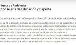 Convocatoria extraordinaria PER - Exámenes náuticos en Andalucía