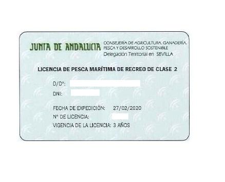 licencia para pescar desde barco en Andalucía