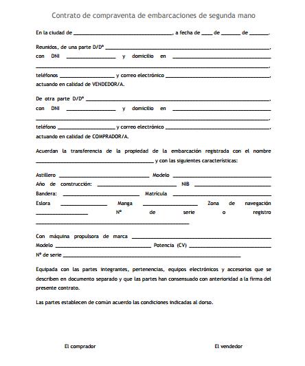 Contrato de compraventa de embarcaciones