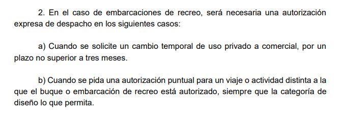 Proyecto normativo sobre despacho de embarcaciones de recreo.
