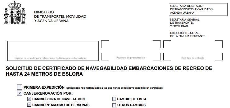cambio de zona y número de pasajeros en certificado de navegabildiad